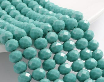 10 X 8mm Faceted Turquoise Blue Crystal Rondelles Opaque crystals 68 Beads 10mm blue beads 8mm beads Faceted Blue Jewelry Pearly rondelles