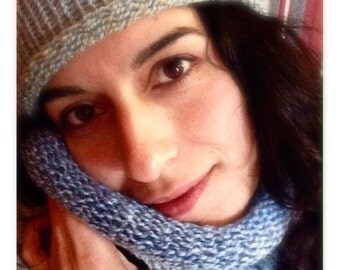 Blue neck scarf. circular knit-tubular