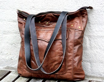 Handmade Shopper Bag, Handmade Leather Bag, Hobo Bag, Recycled Leather Bag, Leather Bag, Leather Tote, Leather Handbag, Reused Leather Bag