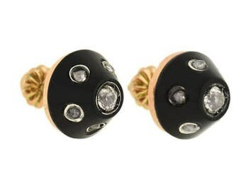 Victorian Black Onyx and Diamonds Earrings Studs in 14k Gold