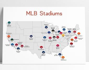 Baseball Map Etsy - Map of baseball teams in us
