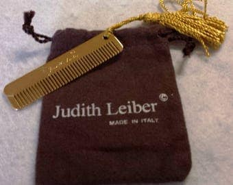 Vintage Judith Leiber Gold Tone Purse Comb with Tassel