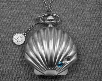 Shell Pocket Watch Conch Locket Pocket Watch Fob -For gifts -P646