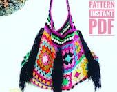 Boho Granny Bag Crochet Pattern | Queen G Fringe Bag | Slouchy Boho Chic | Girl Warrior Granny Squares | Easy, Fun Instant pdf Download