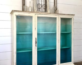 Sold!!!!! Coastal painted hutch/ china cabinet, aqua/ turquoise ombre cabinet