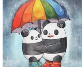 Pocket Pandas™ - Rainy Days - 8.5x11 Print