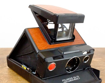 Polaroid SX-70 Land Camera Model 3 Black with New Brown Leather Cover - Instant Film