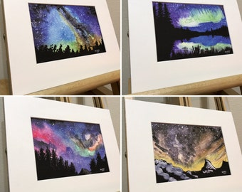 Galaxy night sky complete set of prints.