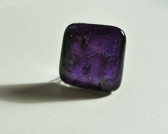 Fused glass ring, in purple and green dichroic glass
