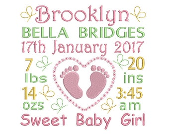 Birth Announcement Template Embroidery Design, Instant Download, Baby Birth Template Machine Embroidery, AM/PM, Baby Feet, No: ST509-34