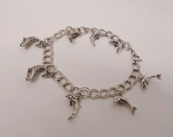 Free Ship* Vintage Sterling Silver Dolphin/Whale Charm Bracelet/ Size 8/ Fine Jewelry & Accessories