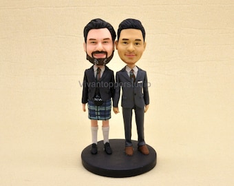 Gay wedding cake topper personalized toppers funny cake topper cartoon polymer clay figurines  Scotland
