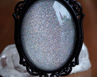 Silver Holographic Galaxy Sparkle Black Ornate Setting Hand Made Necklace