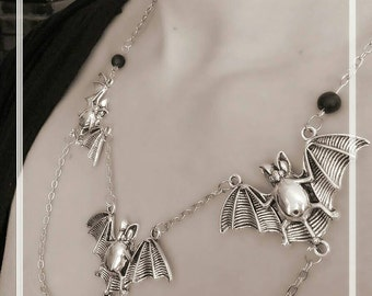 Gothic big bats necklace