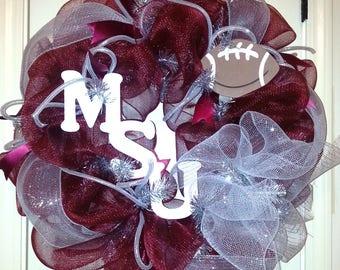 Mississippi State wreath, MSU wreath, football wreath, college wreath, mesh MSU wreath, football wreath, team wreath, wreath, MSU door decor