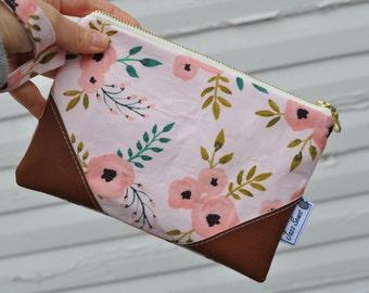 Light Pink Floral Wristlet