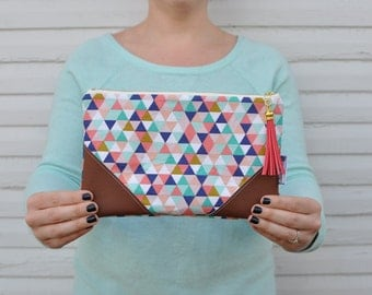 Pastel Triangles Clutch with Tassel Zipper Pull