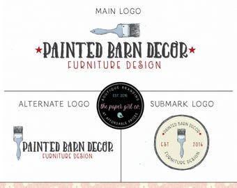 paint brush logo furniture logo design painting logo design vintage logo design refurbished furniture logo paint shop logo artist logo