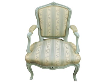 Antique French Bergere  French Upholstered Fauteuil  Antique French Ladies Armchair  French Painted Armchair Vintage French Mint Bergere