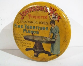 Vintage SC Johnson U0026 Sons Of Racine, Wisconsin Prepared Furniture Wax  Canister   FREE SHIPPING