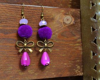 Boucles d'oreilles bohèmes, romantiques avec pompon