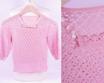 Cute Vintage Pink 1930/1940s Crochet Top Size 0 / XXS/ Petites