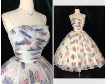 ICONIC Designer 1950s vintage dress Very Full Skirt / Shelf bust / Retro / Rockabilly / Glamour