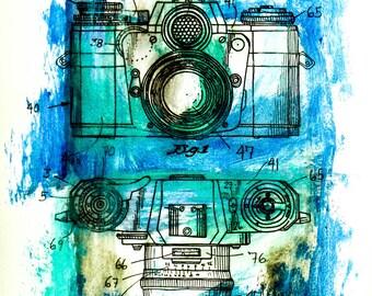 Postcard sized - Camera Patent Acrylic Painting print