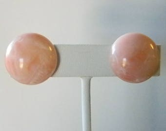 Pink/White Marble Look Round Button Clip Earrings