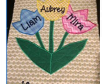 Spring Floral Appliqued Tulip Embroidered Monogrammed Burlap Garden Flag