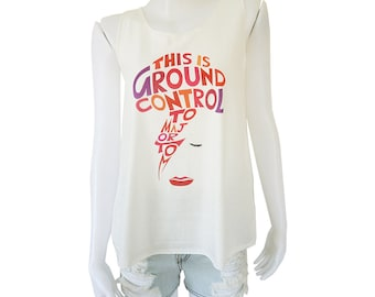 David Bowie Ziggy Stardust This is Ground Control To Major Tom Printed Lady Women Singlet Tank Top Vest Blouse Shirt Tee T-Shirt White S M L