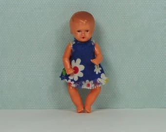 Doll house vintage baby doll girl toddler 1960s blue