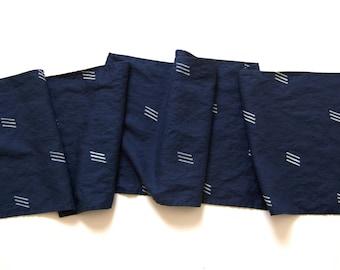 Linen Table Runner Navy Blue Dash Print