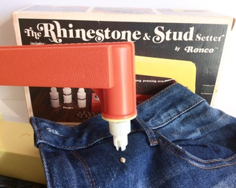 1970's Rhinestone and Stud Machine By Ronco, Stud Jeans, Hats, Belts, Shirts, Totes, Handbags And The Best Of All Vintage Jean Jackets, Stud