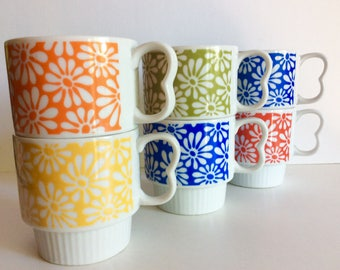 1960's Coffee Mugs With Counter Top Stand, Retro Bright Crazy Daisy Flower Stackable Mugs, Hippie Chick, Mid Century Drinkware, Coffee/Tea