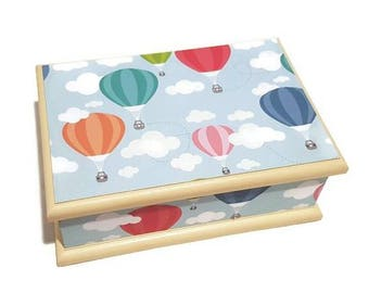 Hot Air Balloon Themed Baby Box, Keepsake Box, Trinket Box, Treasure box, Memory box, Wooden Box, Christening Box
