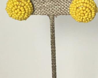 Yellow beaded circle earrings