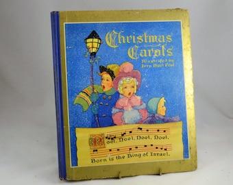 Christmas Carols Book 1937 -  Frank Edwin Peat w/  Illustrater Fern Bisel Peat - Saalfield - Vintage Hardback