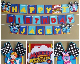 Mickey Roadster Racers Banner, Mickey Roadster Racers Birthday Banner, Mickey and the Roadster Racers Birthday