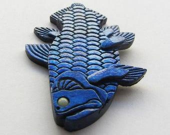 Cool fridge magnet, Fish fridge magnet, Glow in the dark magnet, Blue fish, Present for colleagues, Present for friends, Fishing, Aquarium