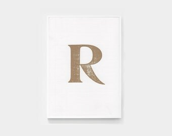 Gold ink letter R, letterpress print, unframed – 120mm x 180mm (approx)