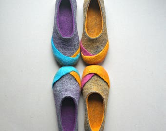 "Women wool felt slippers, felted home shoes, felt slippers, eco slippers - ""Multi"" Gift for her"