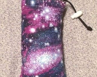 Purple Glittery Galaxy Padded Pouch Pipe Bag / Sunglasses Case / Ipod case!! HANDMADE  in USA