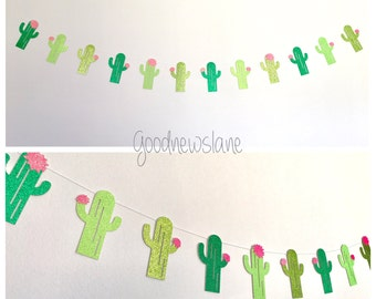 Cactus Garland, Glittery Cactus Banner, Tropical Decor, Fiesta Party, Taco Party, cinco de mayo