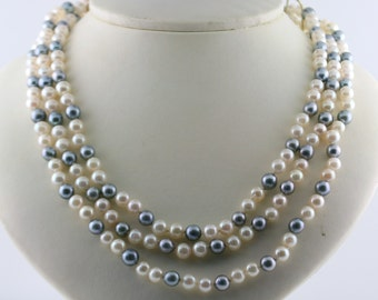 Cultured Acoya White and Blue Pearl Multi Strands Statement Necklace 14k Yellow Gold Royal Clasp