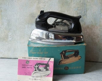 Vintage 1960s GE Iron with box, 60s Chrome Iron with cloth chord, 1950s Iron General Electric, Mid Century Iron, Working Vintage Iron,
