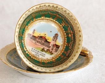 Antique 1908 Edinburgh Exhibition Commemorative Miniature Souvenir China Teacup Set / Antique Porcelain Teacup and Saucer / Miniature cup