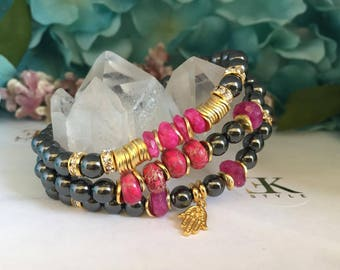 Hematite Bracelet, Stretch Bracelet, Stack Bracelet, Ruby Bracelet, Bracelet Set,