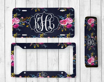 Monogram License Plate, Floral License Plate, Floral Watercolor, Monogram Seatbelt Cover, Floral License Plate Frame, Monogram License Frame