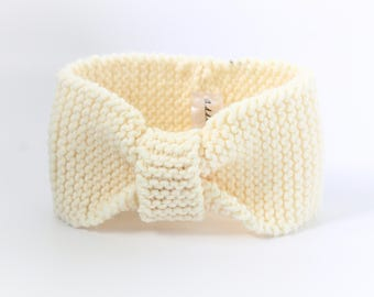 Cream Knitted Baby Headband I Knitted Headband for Baby I Baby Shower Gift